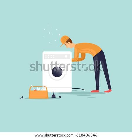 Handyman repairs the washing machine. Vector illustration flat style.