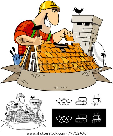 Handyman roofer  character  7   The series of the handyman cartoon    Roofer Vector