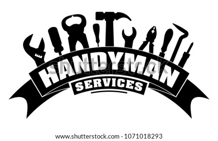Handyman services vector design for your logo or emblem with bend banner and set of workers tools in black. There are wrench, screwdriver, hammer, pliers, soldering iron, scrap.