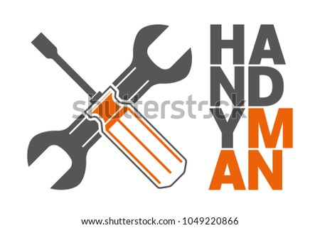 Handyman with wrench and screwdriver. Can be used for worker, mechanic, service, technical assistance.