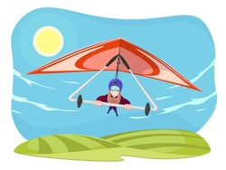 Hang gliding character vector illustration isolated on white background. Cheerful hang gliding tandem flying in sky