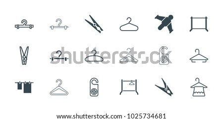 Hang icons. set of 18 editable filled and outline hang icons: cloth hanging, hanger, hang glider, do not disturb