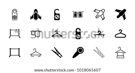 Hang icons. set of 18 editable filled and outline hang icons: hanger, do not disturb, hang glider, photos on rope, door knob, cloth hanging