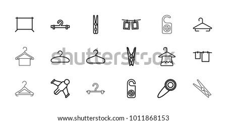Hang icons. set of 18 editable outline hang icons: hanger, cloth pin, do not disturb, cloth hanging, hang glider, photos on rope