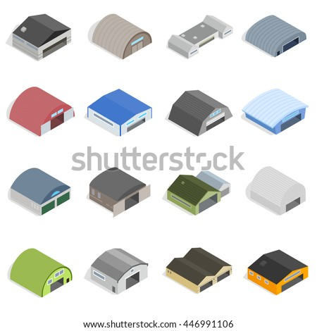 Hangar Icons set in isometric 3d style isolated vector illustration. Factory 3d hangar icons