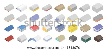 Hangar icons set. Isometric set of hangar vector icons for web design isolated on white background