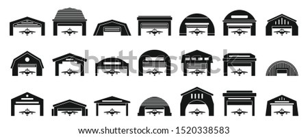 Hangar icons set. Simple set of hangar vector icons for web design on white background