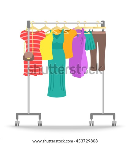 hanger rack with women clothes