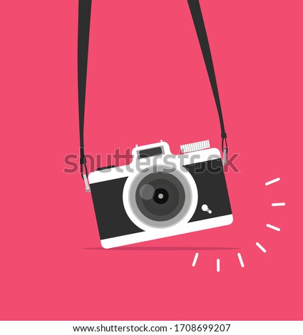 hanging camera vector flat style concept Photo stock ©