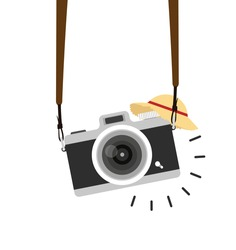 hanging camera vector with straw hat