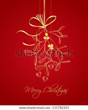 hanging Christmas decoration with mistletoe on red background