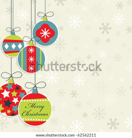 hanging christmas decorations on snowflake background, with clipping mask