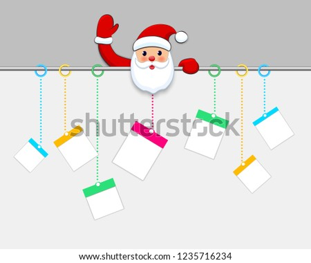 f4c99db98b5c4 Hanging Christmas gift boxes. Present packages on white background. Santa  Claus welcome with big. Santa Claus holding blank banner vector illustration .
