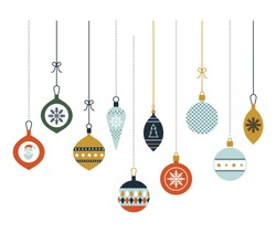 Hanging Christmas glass balls. Christmas decoration. Vector icons in a flat style. Set of graphic elements. Merry Christmas greeting card with modern baubles.
