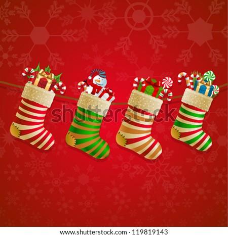 Hanging christmas socks with present. Vector illustration.