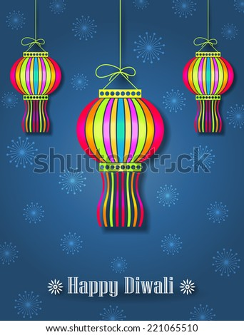 Hanging Colorful Diwali Lamps Kandils Diwali Festival Background