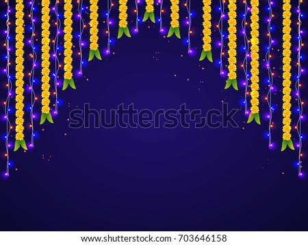 Hanging light download free vector art stock graphics images hanging colorful lights and marigold flowers decorations for happy diwali celebrations junglespirit Gallery