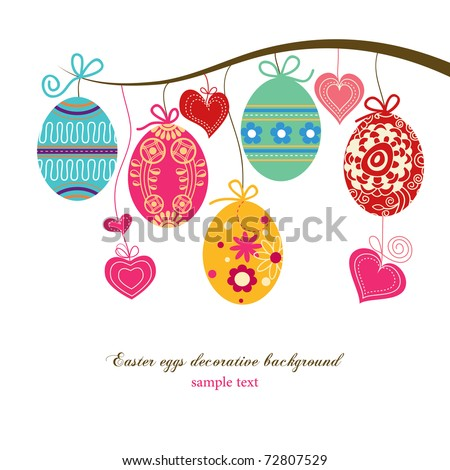 Hanging easter eggs and hearts - stock vector
