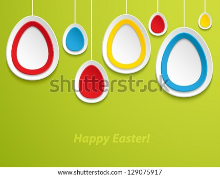 Hanging easter eggs . Vector illustration.