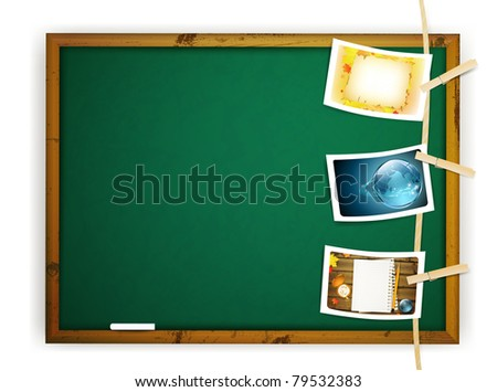 Hanging educational photos pinned to a Rope near school blackboard over white