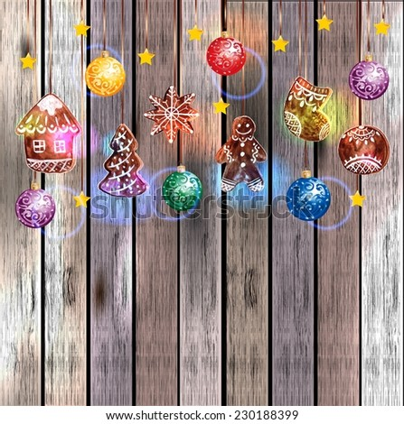 Hanging Gingerbread Christmas Cookies for Xmas Decoration with color decoration ball. Wood Texture Background, VECTOR