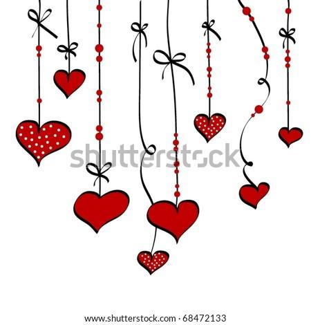 Hanging hearts, vector - stock vector