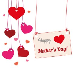 Hanging hearts with frame and text Happy Mothers Day. Eps 10 vector file.