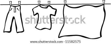 hanging laundry - stock vector