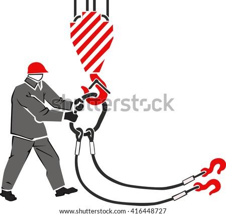 hanging lifting slings  vector