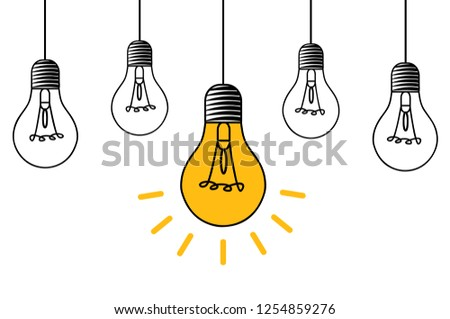 Hanging light bulb with fluorescent tube Vector icon lamp with concept of idea on white background