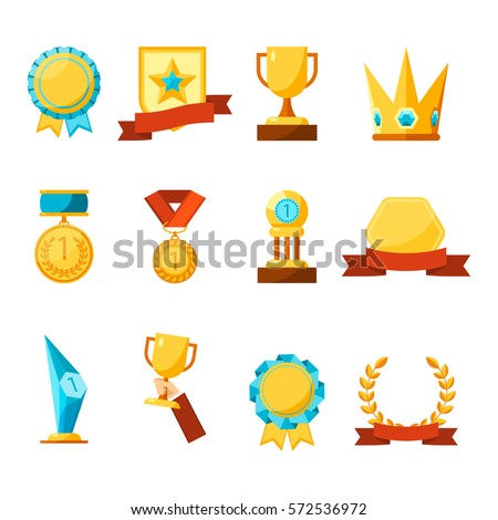 Hanging medals, glass awards, gold cups and crowns collection on white. Vector poster of prizes and rewards made of glass and gold with precious stones, on colourful tapes and stands in flat style