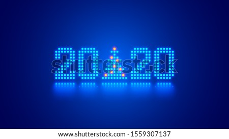 Hanging 2020 number year or digits and Christmas tree consisting blue shining neon square pixels with reflection. Xmas New Year card background. Digital computer technology conceptual holiday banner.