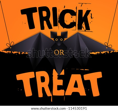 Hanging origami bat and Trick or Treat Halloween text