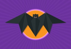 Hanging origami paper flying fox isolated on full moon vector background.
