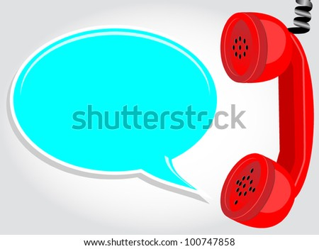 hanging phone with chat bubble - stock vector