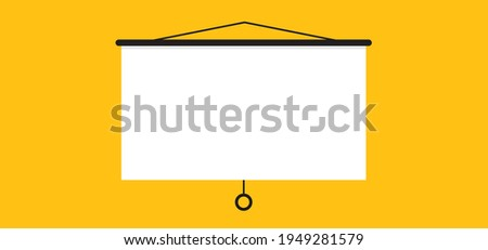 Hanging presentation screen. Empty board or billboard. Screen projector for cinema, movie, games and meetings. vector slide screen sign. Education empty canvas wall frame for meeting on school or work ストックフォト ©