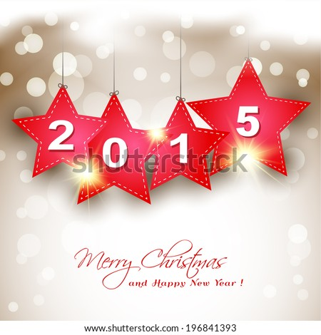 hanging 2015 red star on magical winter background greeting card