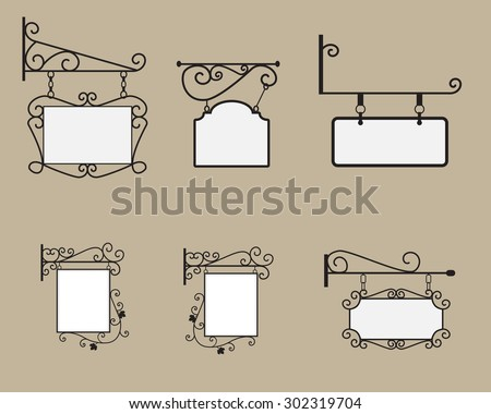 hanging sign and banner with...
