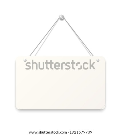 Hanging sign. Realistic blank signboard. White paper sheet attached to wall with metallic button. Empty square cardboard with rounded edges. Reminder pinned by silver metal nail. Vector signage mockup Stockfoto ©