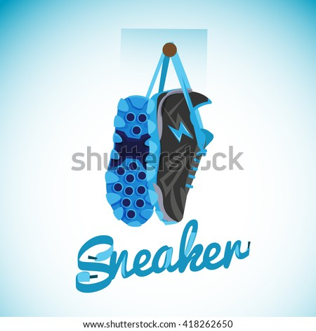 hanging sneakers with