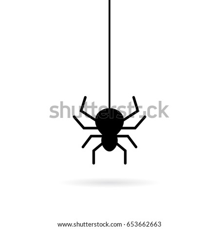 hanging spider vector icon on...