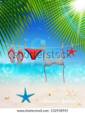 Hanging swimsuit on seascape background. Vector illustration.