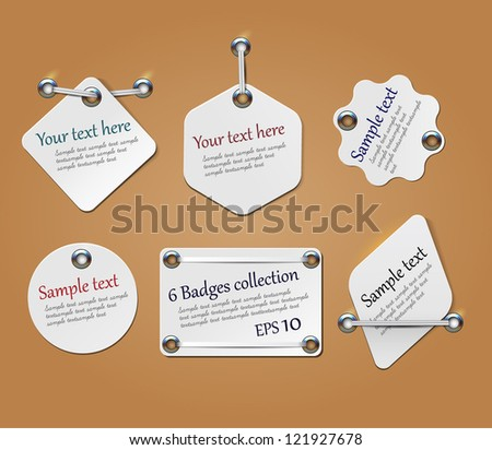 Hanging tags for price and discount captions.