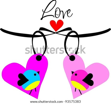 hanging the two love heart tags with two love birds