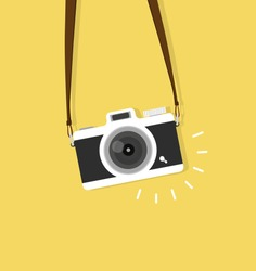 hanging vintage camera vector  flat style