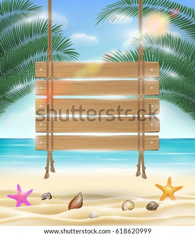 hanging wood board with sea
