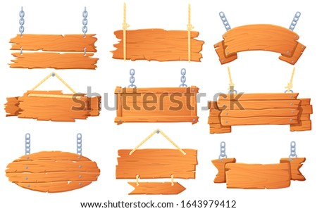Hanging wooden banners. Wood board on rope, hanged signboard and banner with wood texture cartoon vector set. Bundle of various blank billboards, tablets, decorative signs made of nailed old planks.