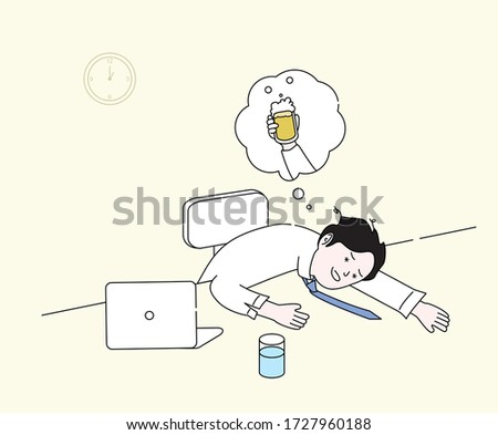 hangover-ridden office worker illustration set. beer, daze, lie face down, neglect. Vector drawing. Hand drawn style. Photo stock ©