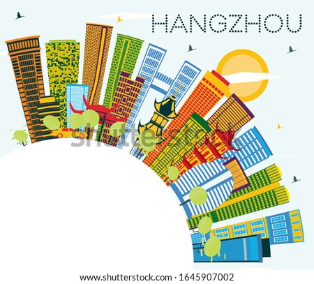 Hangzhou China City Skyline with Color Buildings, Blue Sky and Copy Space. Vector Illustration. Business Travel and Tourism Concept with Modern Architecture. Hangzhou Cityscape with Landmarks.