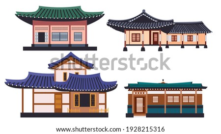 Hanok buildings isolated vector illustration set. Traditional Korean house design element collection. Ancient, classic asian town in cartoon style.
